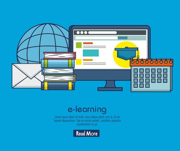 Educação on-line com exibição de desktop