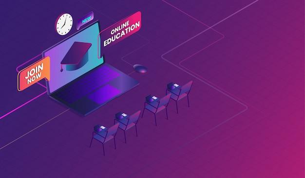 Educação on-line com laptop, curso de treinamento on-line