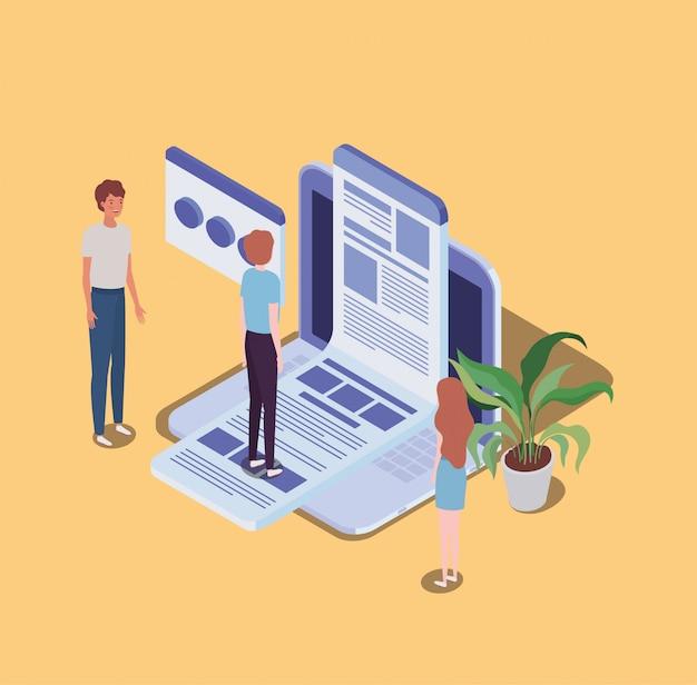 Educação on-line com laptop e mini pessoas