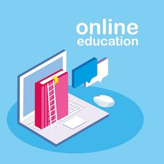 Educação on-line com laptop
