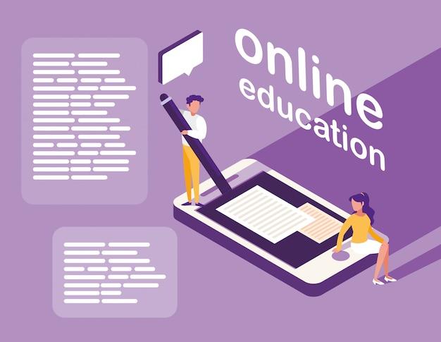 Educação on-line com smartphone e mini pessoas