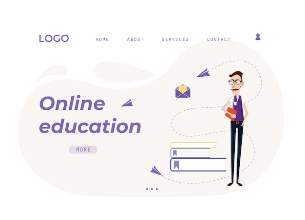 Educação on-line de modelo de página da web de destino