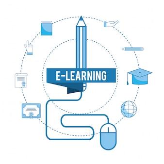 Educação on-line e boné de formatura com diploma