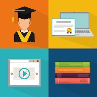 Educação on-line e design gráfico de elearning, ilustração vetorial eps10
