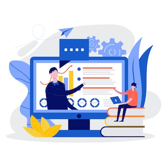 Educação on-line e ensino, seminário na web, aulas na internet, sala de aula digital, conceito de oficina.
