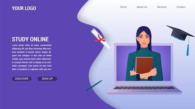 Educação on-line e estudar do conceito de computador para a página de destino, com diploma e chapéu de formatura e livro de exploração de mulher.
