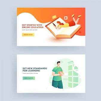 Educação on-line e novos padrões que aprendem o conceito baseado em web banner design em duas opções.