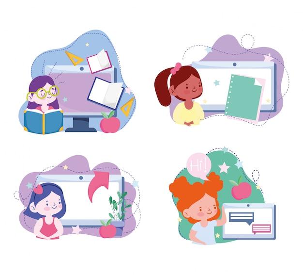 Educação on-line, estudante meninas computador tablet dispositivo tecnologia, site e ilustração de cursos de treinamento móvel