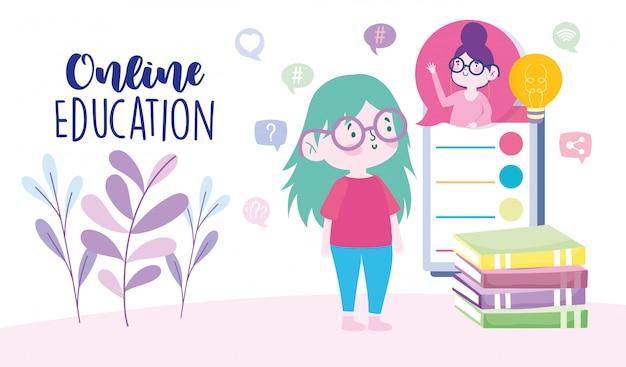 Educação on-line, garota com videochamada para professor de smartphone, site e cursos de treinamento para celular
