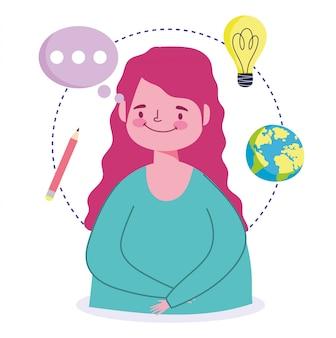 Educação on-line, ilustração em vetor estudante menina mundo lápis discurso bolha