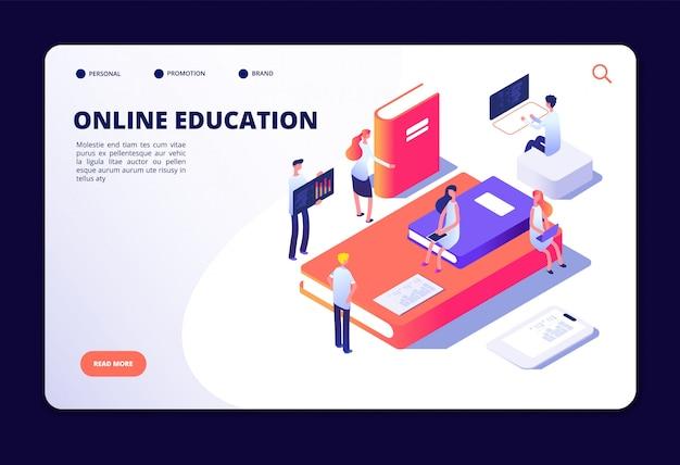 Educação on-line isométrica. treinamento na internet, estudando em sala de aula on-line. cursos, conceito de vetor de tecnologia de educação