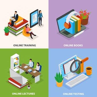 Educação on-line isométrica