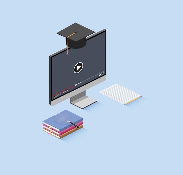 Educação on-line isométrica.
