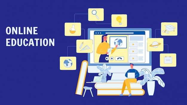 Educação on-line, layout de banner de vetor de cursos