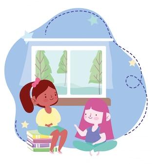 Educação on-line, meninas estudantes com livro no quarto em casa