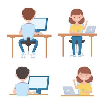 Educação on-line meninos e meninas com computador portátil na mesa de aula virtual