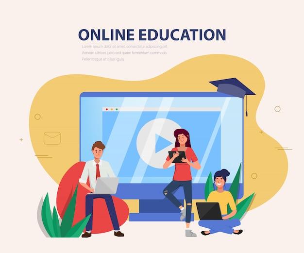Educação on-line no site.