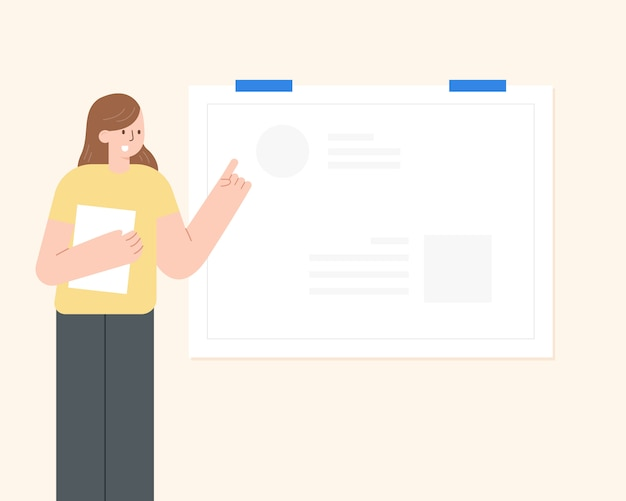 Educação on-line ou conceito de treinamento de negócios. professora online. ilustração dos desenhos animados.
