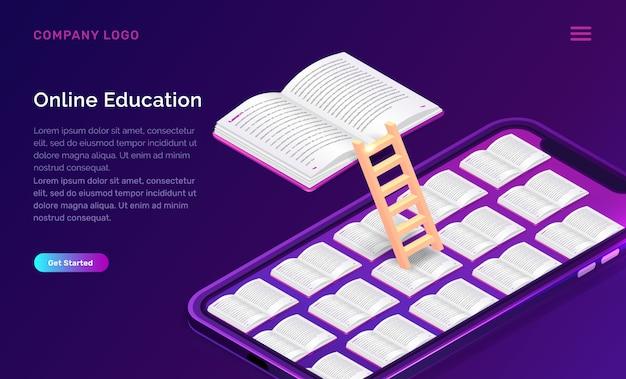 Educação on-line ou conceito isométrico de biblioteca