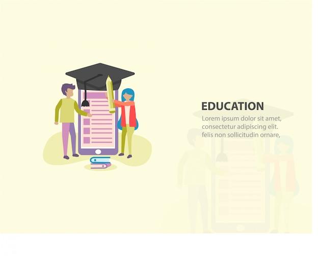 Educação on-line ou design de plano de fundo do curso