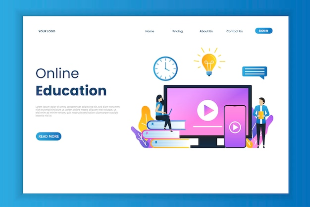 Educação on-line para a página de destino