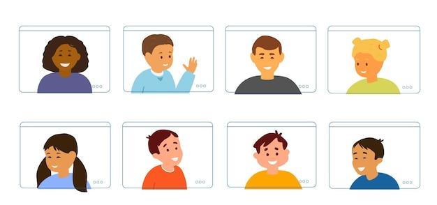 Educação on-line para ilustração plana do conceito de crianças.