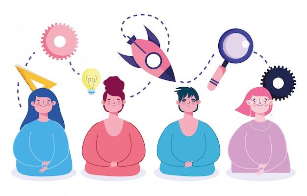 Educação on-line, pessoas estudantes personagens criatividade aprender estudo
