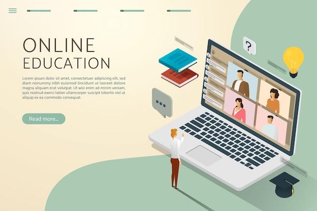 Educação on-line por meio de videochamada com links on-line, como se estivesse estudando com outros alunos
