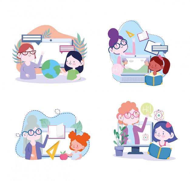 Educação on-line, professor e aluno meninas livros do mundo dos computadores aprendem, site e ilustração de cursos de treinamento móvel