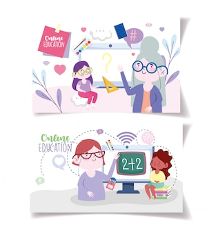 Educação on-line, tecnologia para tablets para professores e meninas, cursos on-line e móveis