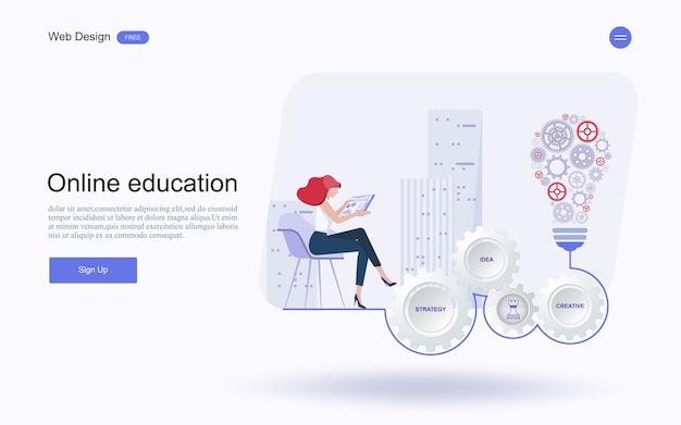 Educação on-line, treinamento e cursos, aprendendo.
