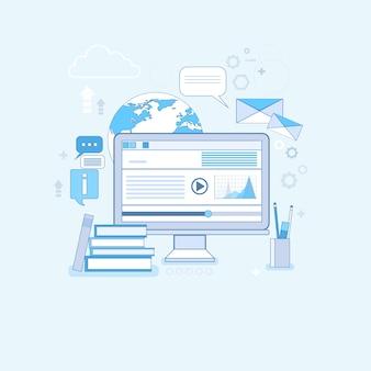 Educação online aprendizagem web banner linha fina ilustração vetorial