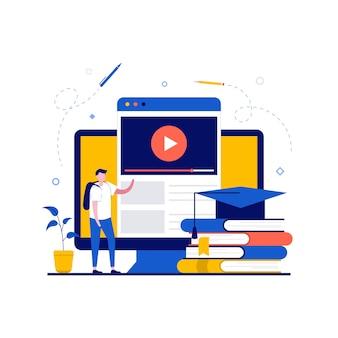 Educação online com aluno estudando curso online para universidade