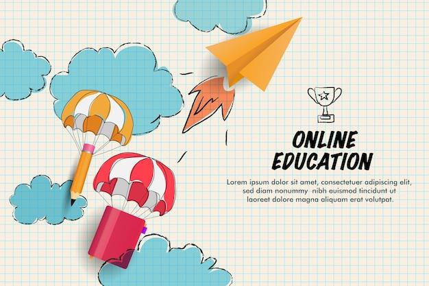Educação online com desenho de ilustração de lápis e livro