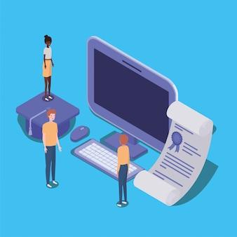 Educação online com desktop e mini pessoas