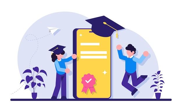 Educação online com telefone celular. pessoas e smartphone no boné acadêmico quadrado. versão móvel do diploma.