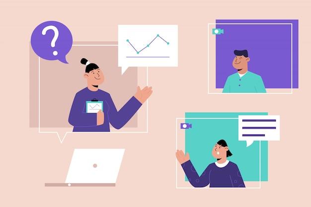 Educação online com um conceito de laptop
