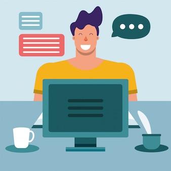 Educação online em casa com um jovem estudante