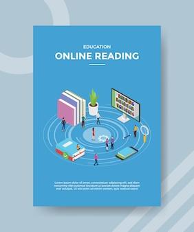 Educação online lendo pessoas ao redor de livro computador smartphone