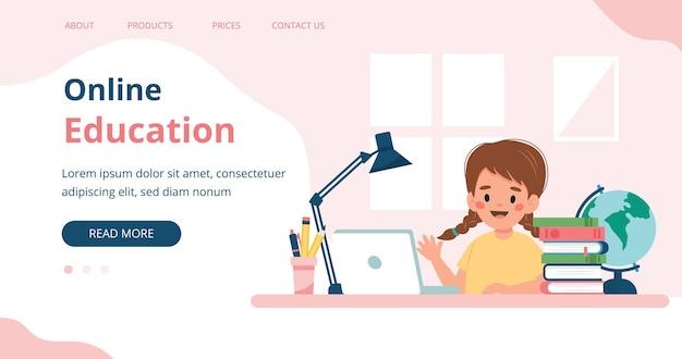Educação online menina estudando com computador e livros