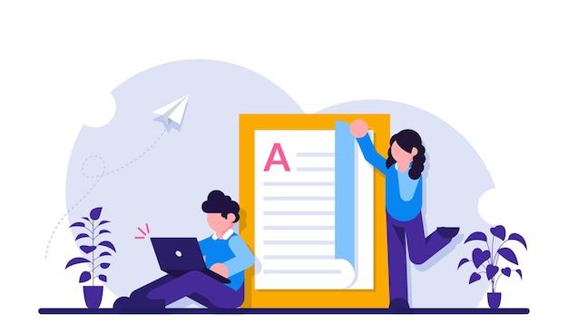 Educação online. os alunos estudam disciplinas pela internet. o cara com o laptop.