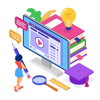 Educação online ou exame a distância com curso de internet de caráter isométrico e-learning