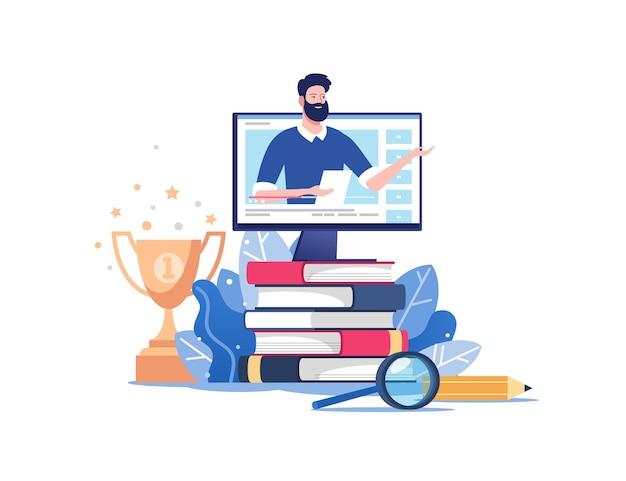 Educação online ou treinamento empresarial. pilha de livros e computador com mentor. ilustração para gráficos móveis e da web.