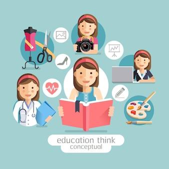 Educação pensando conceitual. menina segurando livros.