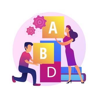 Educação primária. desenvolvimento de jogos, estudo divertido, ensino fundamental. aluno e educador brincando com blocos abc.