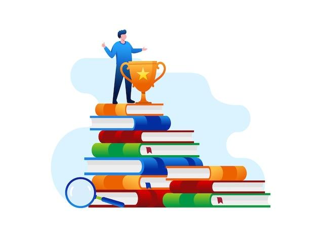 Educação realização aprendizagem referência ilustração vetorial plana de estudante on-line