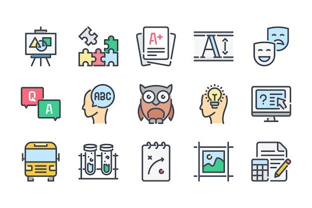 Educação relacionados ao conjunto de ícones de linha de cores.