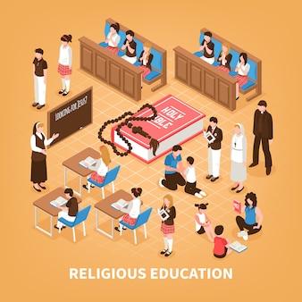 Educação religiosa composição isométrica escola dominical para crianças bíblia lendo em casa a oração na ilustração da igreja