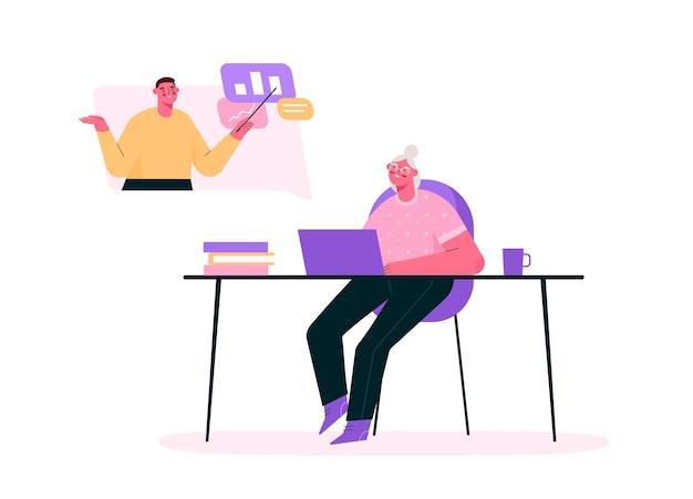 Educação sênior online em design plano