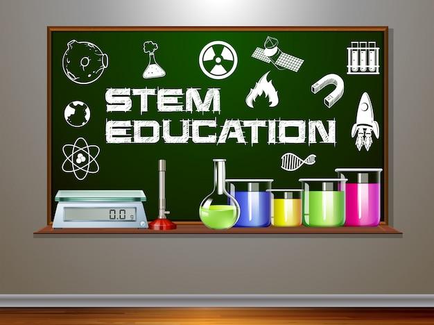 Educação stem no quadro-negro